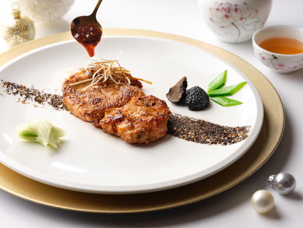 Pan-fried Kurobuta Pork in Truffle Oil