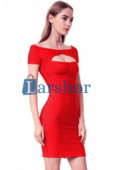 Vlierig off shoulder feest bandage jurkje rood voor vrouwen