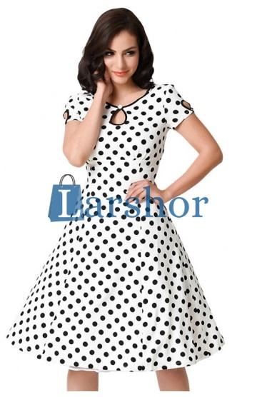 Witte swing jurk met zwarte polka dot en schouder bedekking