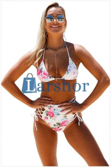 Bloemen print halter nek twee stuks bikini badpak