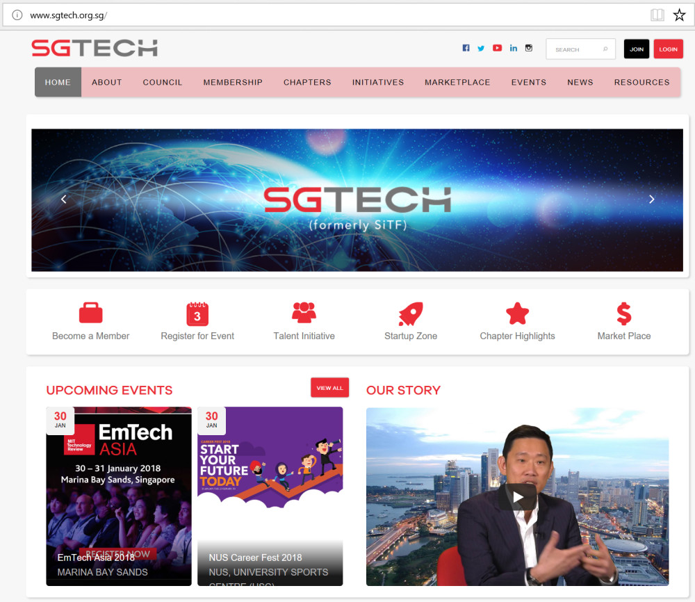 Screen shot of the SGTech website, showing the video recorded on the home page