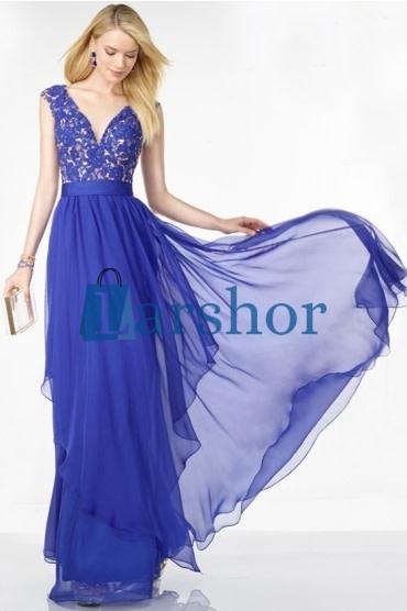 0b4db553d889df Chiffon borduur open rug lange jurk met diepe v hals