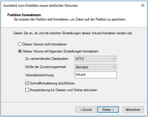 Formatieren Sie sie in NTFS