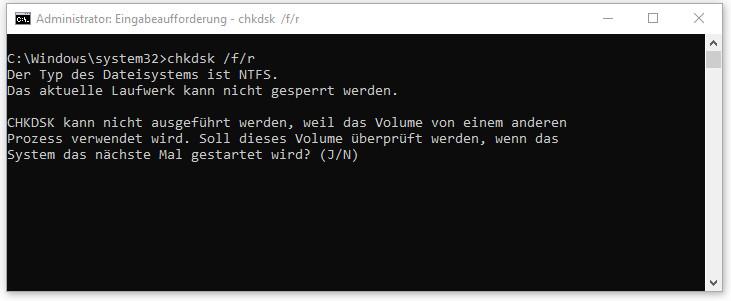 chkdsk /f/r