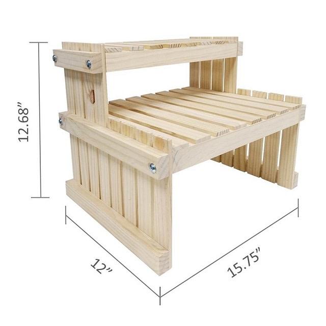 2 Tier Wood Tabletop Display Rack
