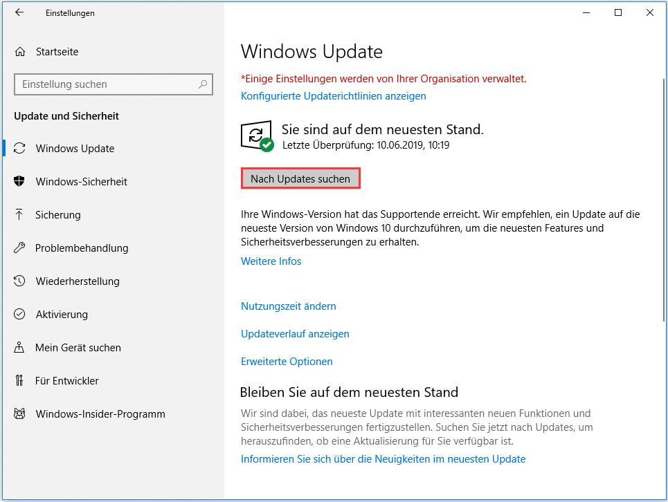 Windows Update aufrufen