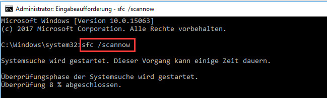 sfc /scannow in der Eingabeaufforderung