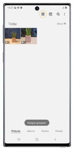 Organiseret visning efter gruppering af billeder i galleriet på Galaxy Note10