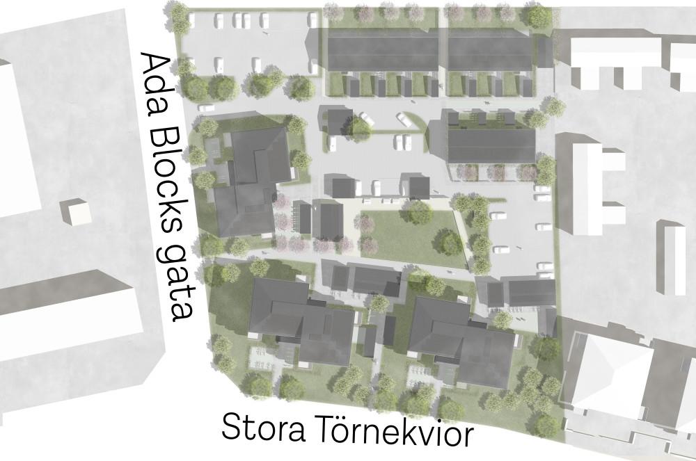 Situationsplan över kvarteret Signallottan i Visby.