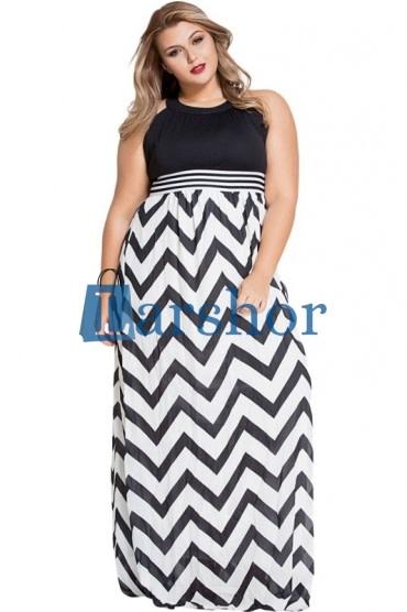 Contrast top en rok zwart en wit azteek patroon tot de vloer grote maten jurk