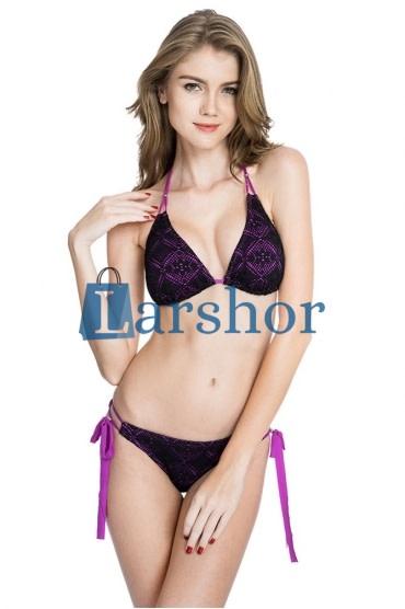 Overal zwart & paarse stof driehoek top bikini set met licht verwijderbare voering en braziliaanse gesneden bodem
