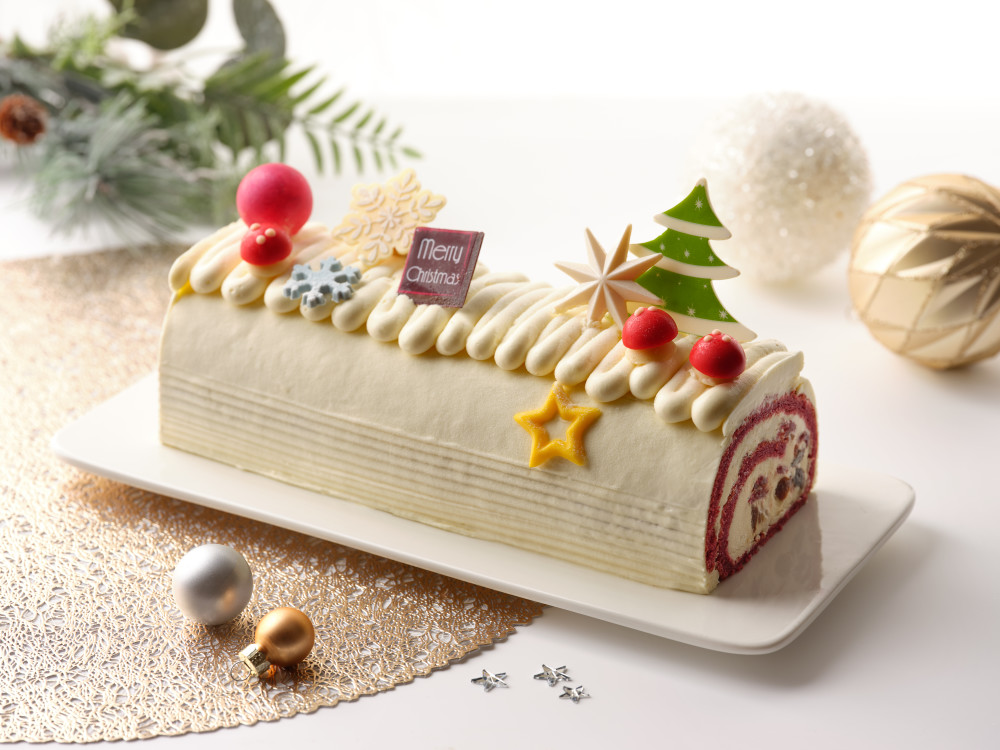 White Chocolate and Cream Cheese Red Velvet Yule Log with Brandied Fruits and Nuts