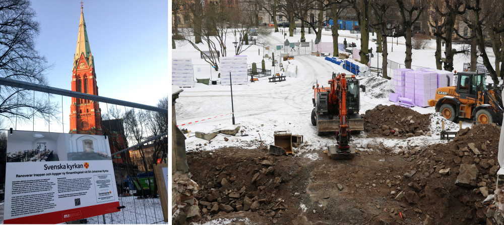 Omfattande renovering av kyrktrappa i Stockholm