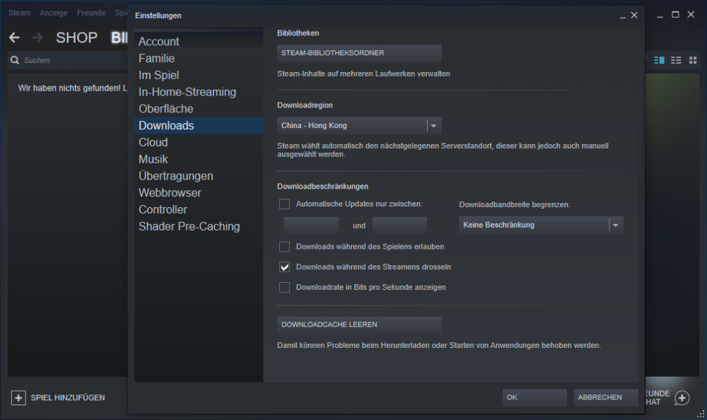 STEAM DOWNLOADCACHE LEEREN
