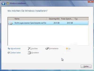 Wählen Sie ein Ziel aus, um Windows zu installieren
