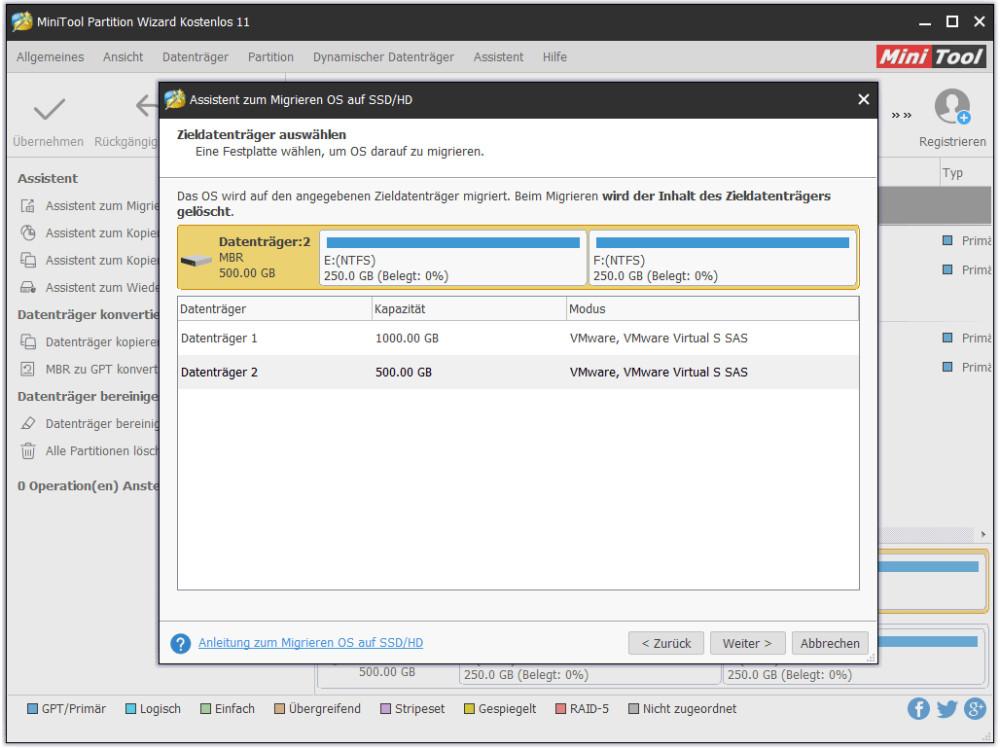 Zieldatenträger (SSD)