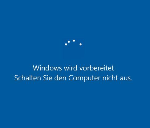 Windows bleibt beim Vorbereiten hängen