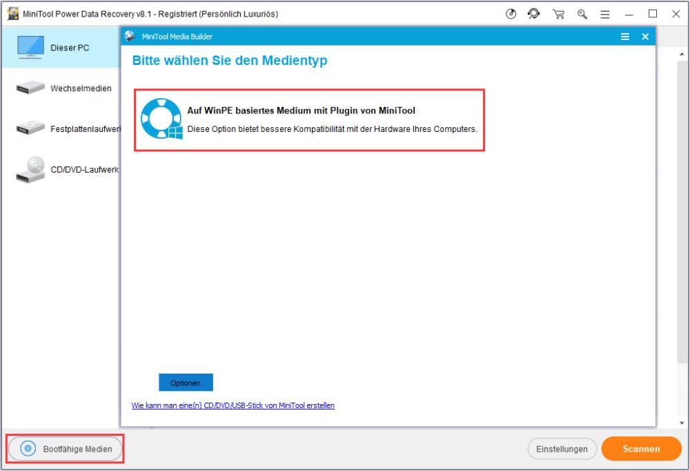 Auf WinPE basiertes Medium mit Plugin von MiniTool