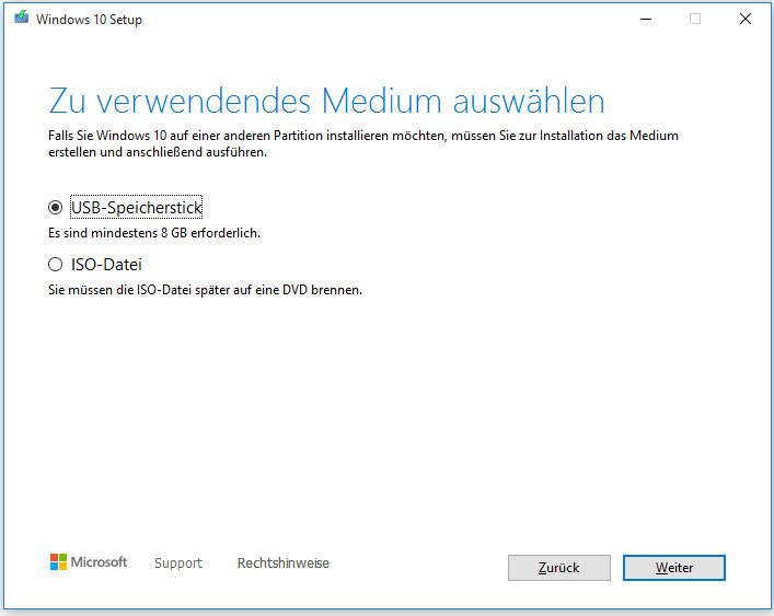 USB-Speicherstick und ISO-Datei