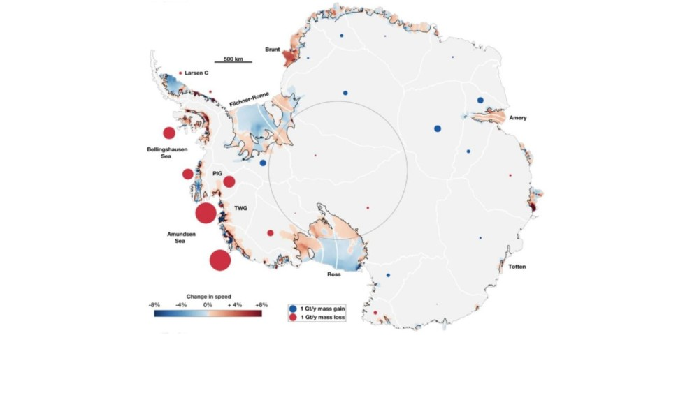 Map of Antarctica with red circles showing the areas of largest increase in ice flow into the ocean around West Antarctica, particularly seen in the Amundsen Sea around the Pine Island Glacier (PIG) and Thwaites Glacier (TWG) regions.