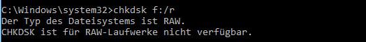 RAW-Laufwerke nicht verfügbar.