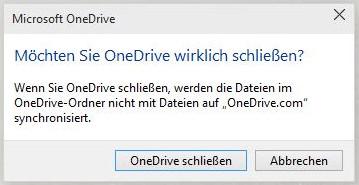 OneDrive schließen