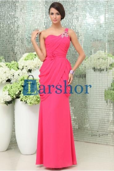 Chiffon rood één schouder formele avond jurk gala jurk