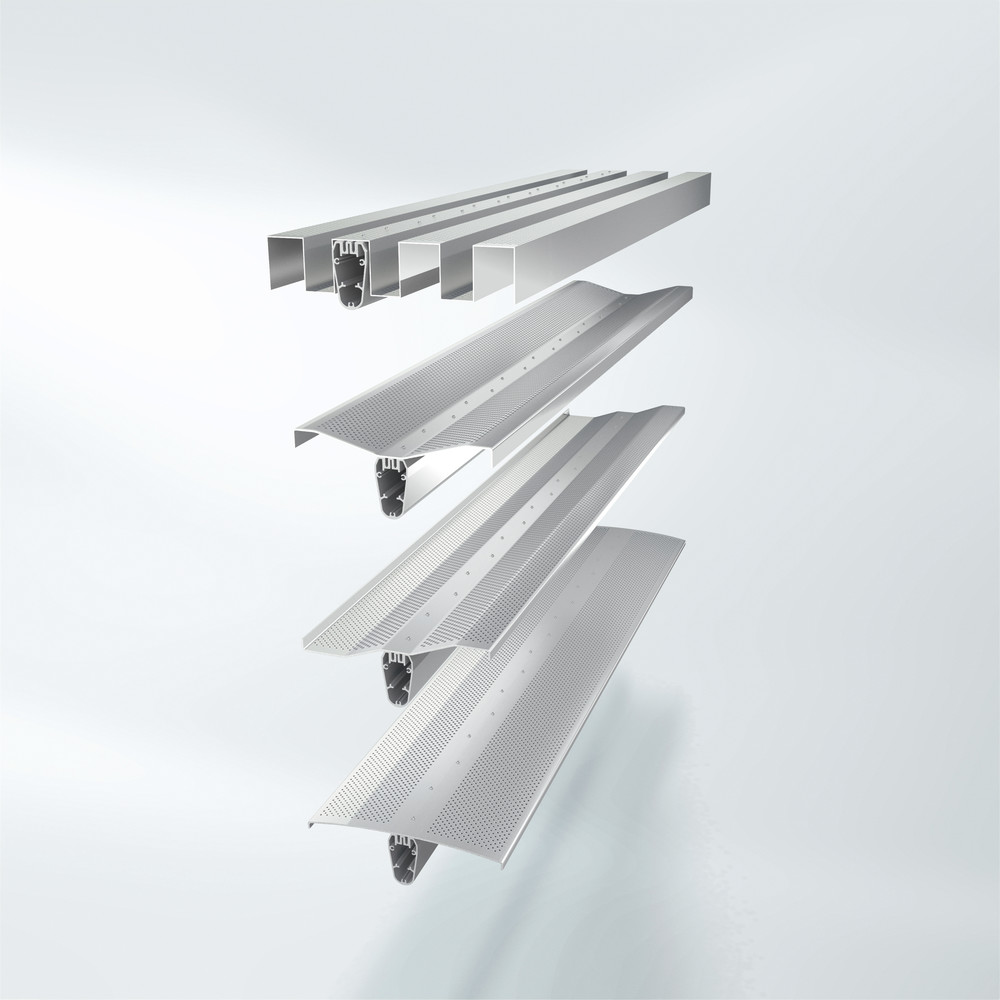 Stort sortiment av tech-optikk-lameller av kantete plater, med eller uten perforering.