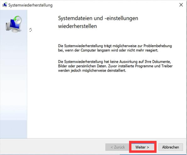 Systemwiederherstellung unter Windows 10