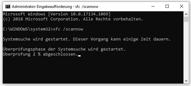 Befehl sfc /scannow