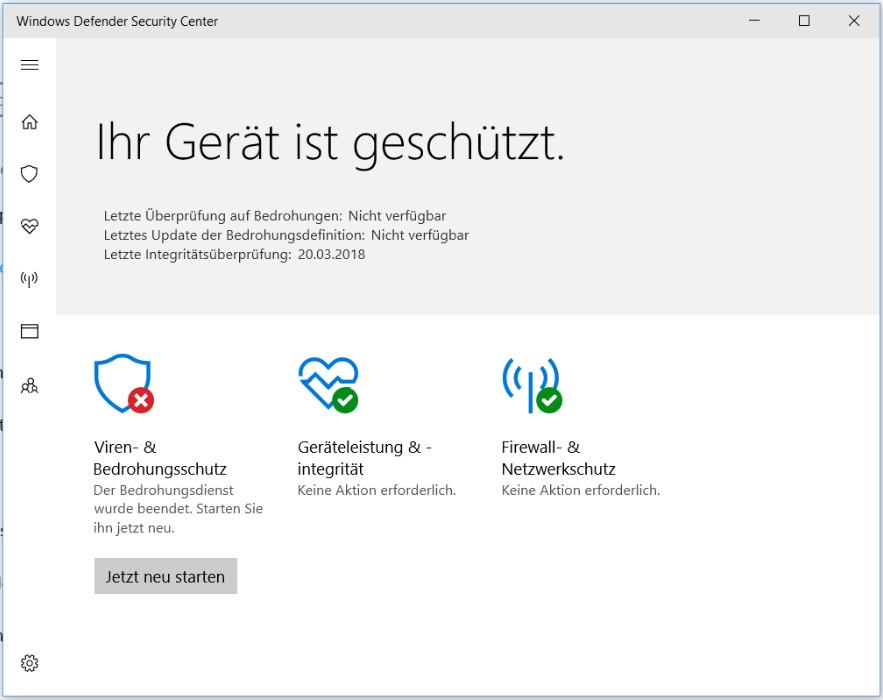 Windows Defender ist deaktiviert