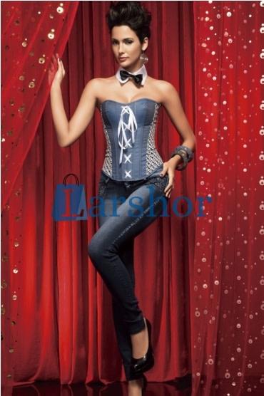 Vrouwenkorset nylon vest bovenborst bustiers lichaam blauwe jeans
