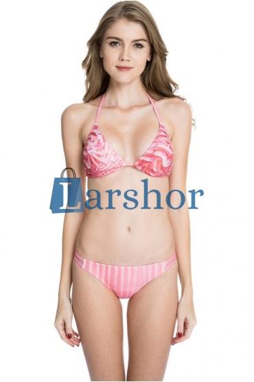 Digitale print collectie -rose ijs bikini badpak met driehoek topje en dubbele bandjes op de broek.