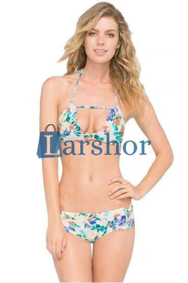 Zelf knopende halter bloemen twee stuks bikini zwempak