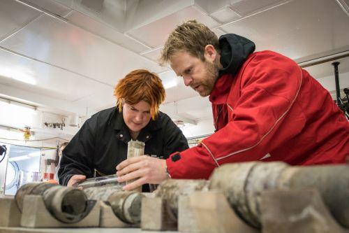 Johann Klages examining the sediment core