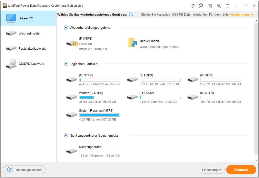 Google Chrome mit Datenwiederherstellungsprogramm