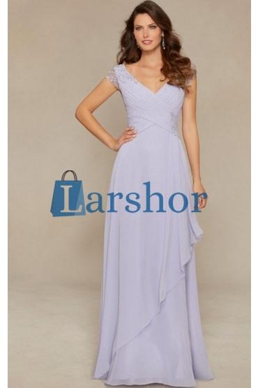 Kap mouw chiffon lange jurk met kralen