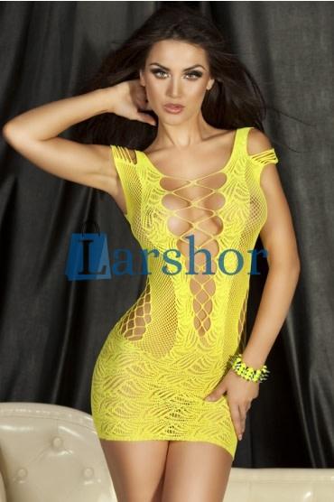 Geel gehaakt gehuldig mini vrouwenhemd