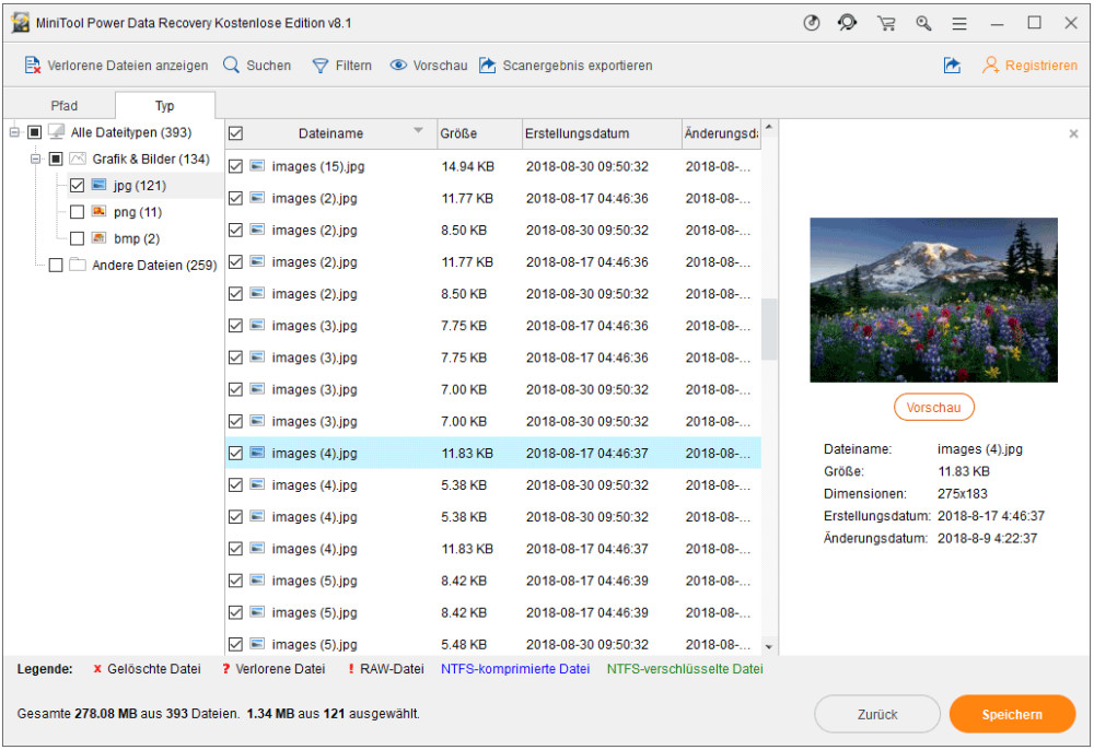 Überprüfen Sie alle benötigten Dateien und speichern Sie sie an einem sicheren Ort