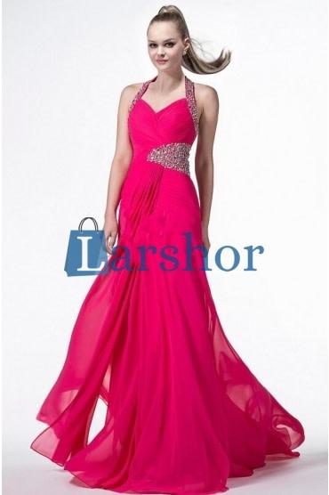 Betoverende dunne schouderbanden strakke fit topje met asymmetrische versiering en lang lichte stoffen flair rok jurk