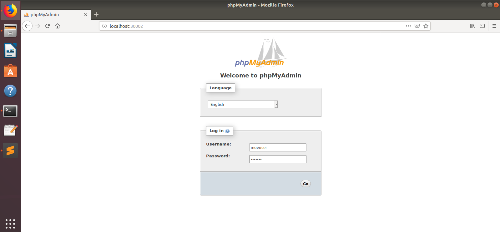 PHPMyAdmin access to the docker application