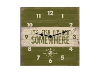 Karl's Bait & Tackle Wood Plank Clock