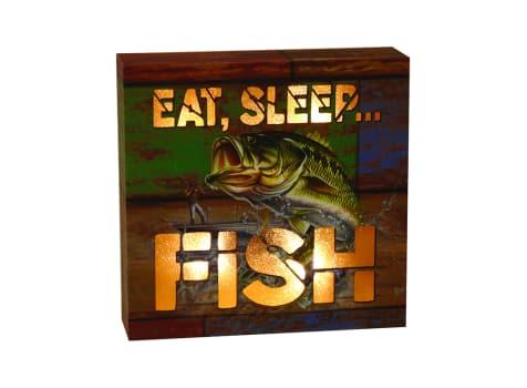 "Rivers Edge ""Eat Sleep Fish"" Lighted Box Sign"