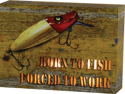 "Rivers Edge ""Born To Fish"" Lighted Box Sign"