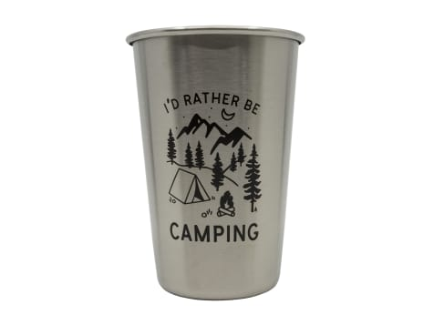 Magic Pine Outfitters I'd Rather Be Camping Stainless Steel Pint Cup