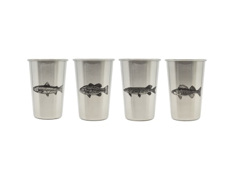 Magic Pine Outfitters Freshwater Fish Series Stainless Steel Pint Cups - 4pack