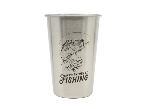 Magic Pine Outfitters I'd Rather Be Fishing Stainless Steel Pint Cup