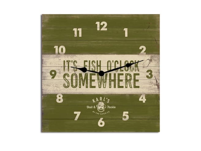 Karl's Bait & Tackle Wood Plank Clock