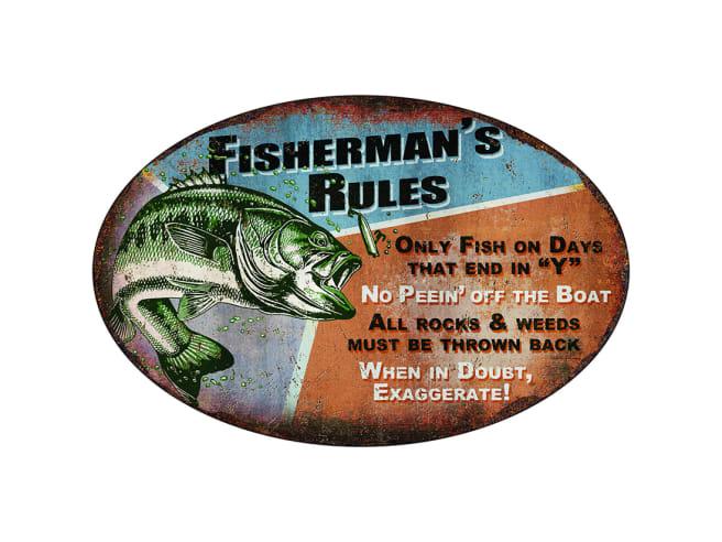 """Rivers Edge """"Fisherman's Rules"""" Tin Sign"""