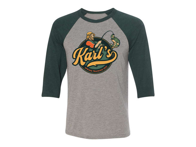 Karl's Bait & Tackle Spring Training 2021 Unisex Baseball T-shirt